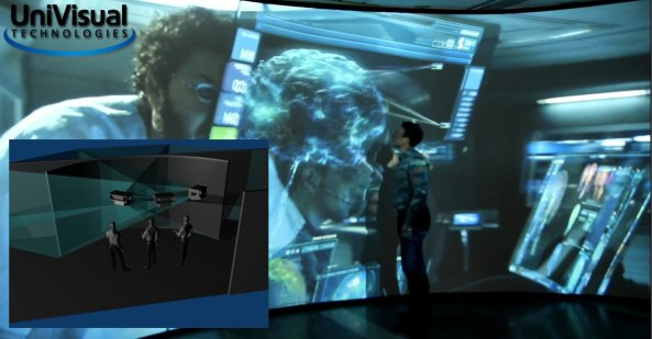 3 meters high and 7 meters wide screen projected with 6 FullHD projectors