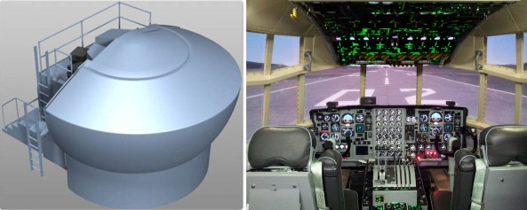 Two C-130H Cargo Plane Cockpit Procedure Training System manufactured by Doodam in Korea uses Warpalizer. Warpalizer was selected for the four channel client/server warping and edge blend solution on collimated displays.